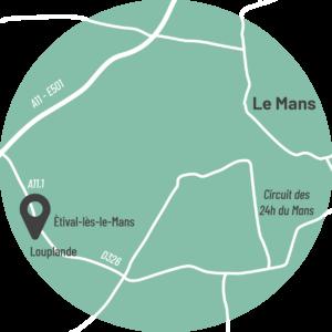 Plan L'Atelier and Cow à Louplande en Sarthe